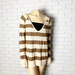 Free People Women's Tan And Brown Striped Sweater